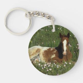 Appaloosa Foal Laying Down in Flowers Keychain