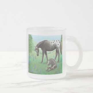 Appaloosa Horse and Foal Frosted Glass Mug