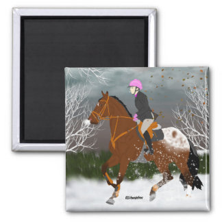 Appaloosa Horse and Rider 2 Inch Square Magnet