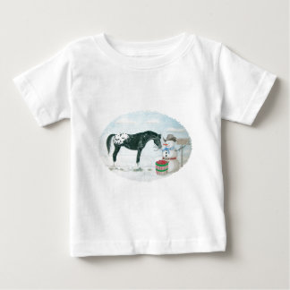 Appaloosa horse and snowman, oval baby T-Shirt