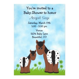 Appaloosa Horse Baby Shower Invitation for Girls