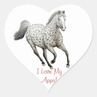 Appaloosa Horse Love Customizable Heart Sticker