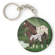 Appaloosa Horse Mare and Foal Keychain