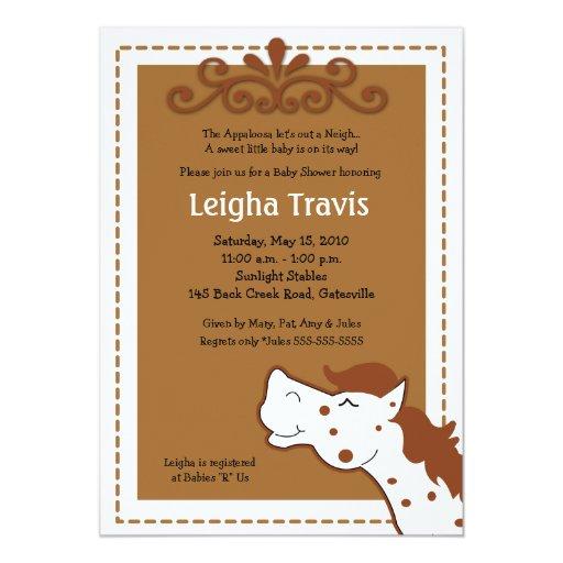 "Appaloosa Horse Neutral 5x7 Baby Shower Invitation 5"" X 7"" Invitation Card"