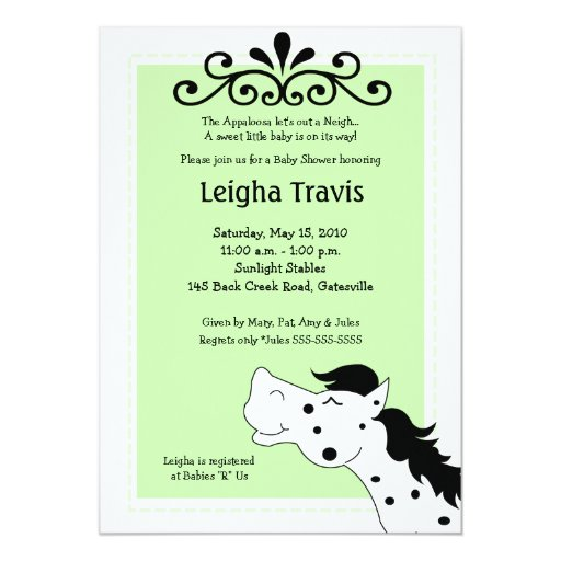 Appaloosa Horse Neutral 5x7 Baby Shower Invitation