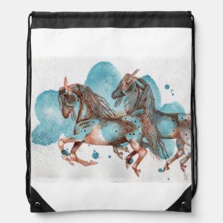 Appaloosa Horse On Turquoise Watercolor Wash Drawstring Bag