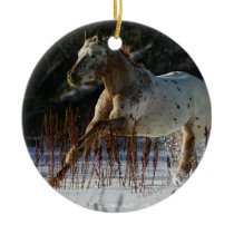 Appaloosa Horse Running in the Snow Ceramic Ornament