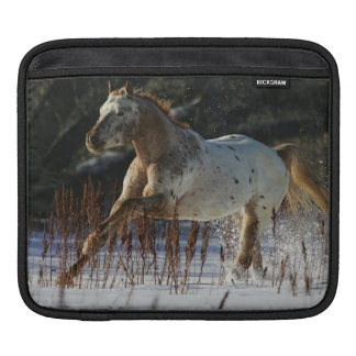Appaloosa Horse Running in the Snow Sleeve For iPads