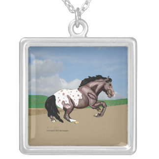 Appaloosa Horse Spin Silver Plated Necklace