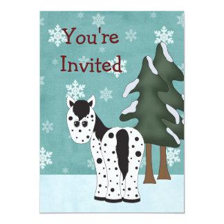 Appaloosa Horse Winter Birthday Invitation