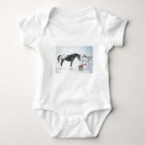 Appaloosa horse with snowman, rectangular baby bodysuit