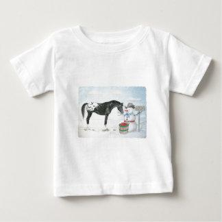 Appaloosa horse with snowman, rectangular baby T-Shirt