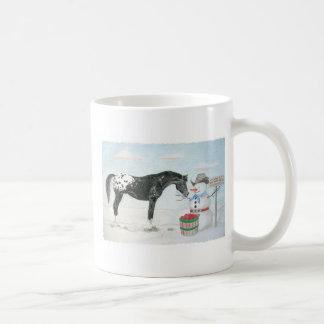 Appaloosa horse with snowman, rectangular coffee mug