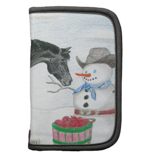Appaloosa horse with snowman, rectangular folio planners