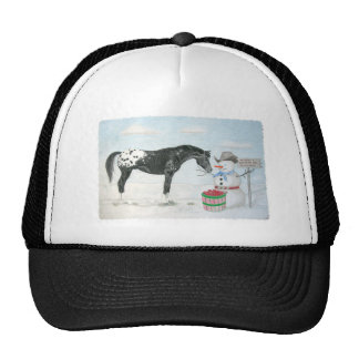 Appaloosa horse with snowman, rectangular trucker hat