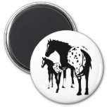 Appaloosa Mare and Foal 2 Inch Round Magnet
