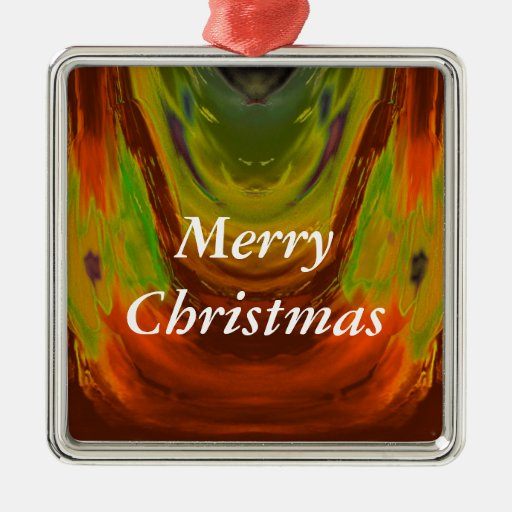 Apparition 3 in Orange and Green Hot Abstract Square Metal Christmas Ornament