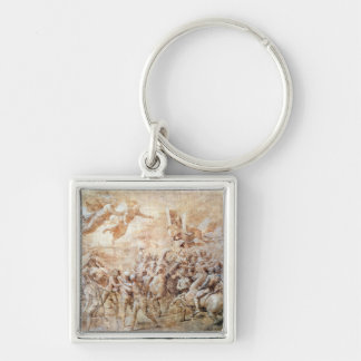 Apparition of St. Peter and St. Paul Silver-Colored Square Keychain