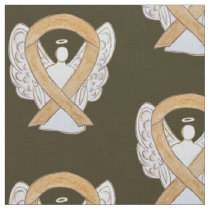 Appendix Cancer Amber Awareness Ribbon Angel Fabric