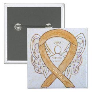 Appendix Cancer Amber Awareness Ribbon Angel Pin