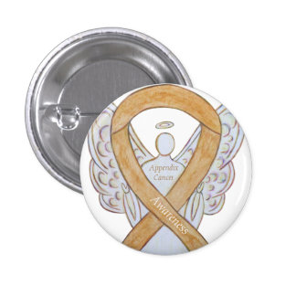 Appendix Cancer Amber Awareness Ribbon Angel Pin