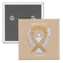 Appendix Cancer Amber Awareness Ribbon Angel Pins