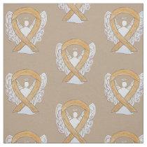 Appendix Cancer Amber Awareness Ribbon Angels Fabric