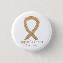 Appendix Cancer Amber Awareness Ribbon Button Pin