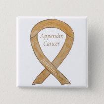 Appendix Cancer Amber Awareness Ribbon Button Pins