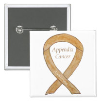 Appendix Cancer Amber Awareness Ribbon Button Pins