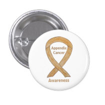 Appendix Cancer Amber Awareness Ribbon Pin Buttons