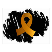 Appendix Cancer Amber Ribbon With Scribble Postcard