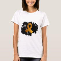 Appendix Cancer Amber Ribbon With Scribble T-Shirt