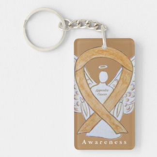 Appendix Cancer Angel Awareness Ribbon Keychain