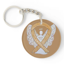 Appendix Cancer Angel Awareness Ribbon Keychains