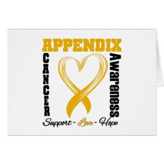 Appendix Cancer Awareness Brushed Heart Ribbon Card