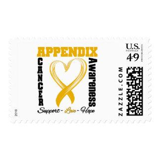 Appendix Cancer Awareness Brushed Heart Ribbon Postage Stamp
