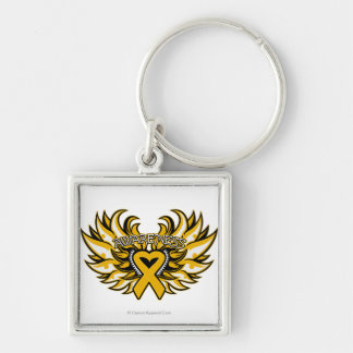 Appendix Cancer Awareness Heart Wings.png Keychain