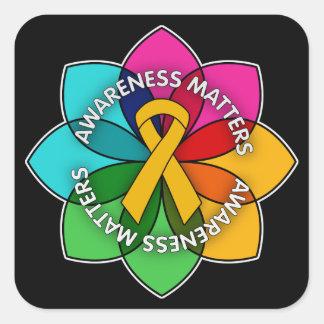 Appendix Cancer Awareness Matters Petals Square Sticker