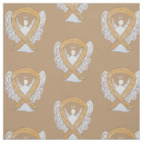 Appendix Cancer Awareness Ribbon Amber Angel Fabric