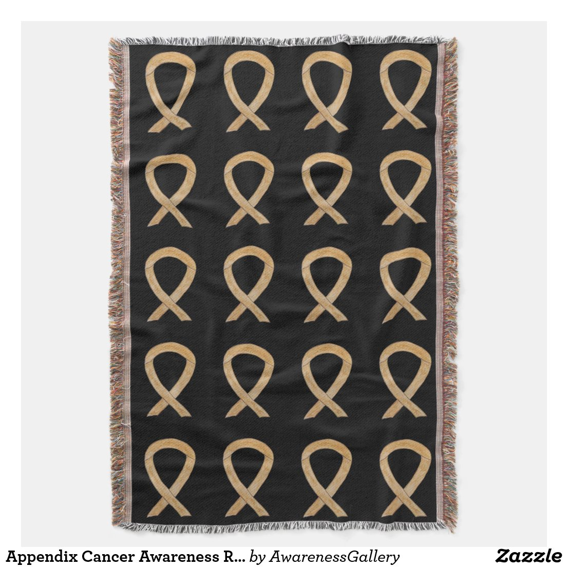 Appendix Cancer Awareness Ribbon Art Throw Blanket