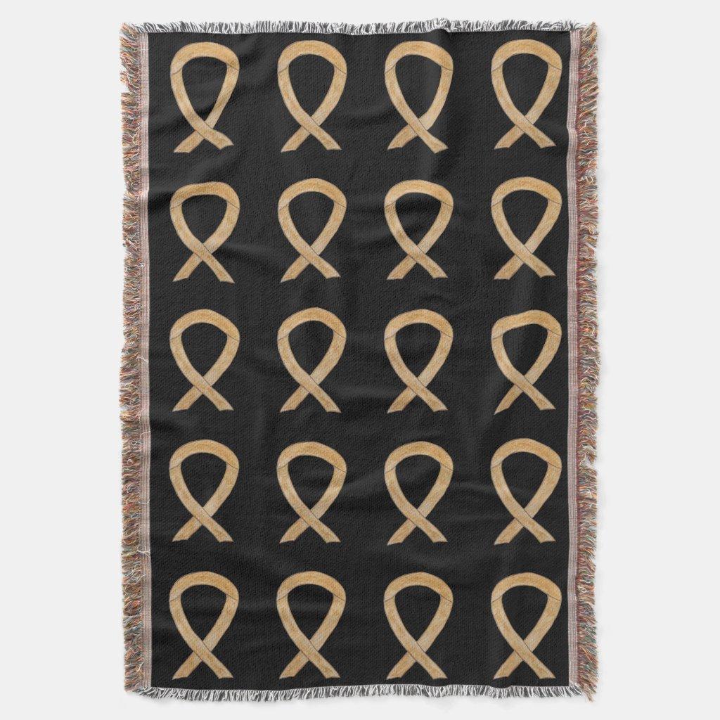 Appendix Cancer Awareness Ribbon Art Throw Blanket