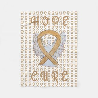 Appendix Cancer Awareness Ribbon Fleece Blankets