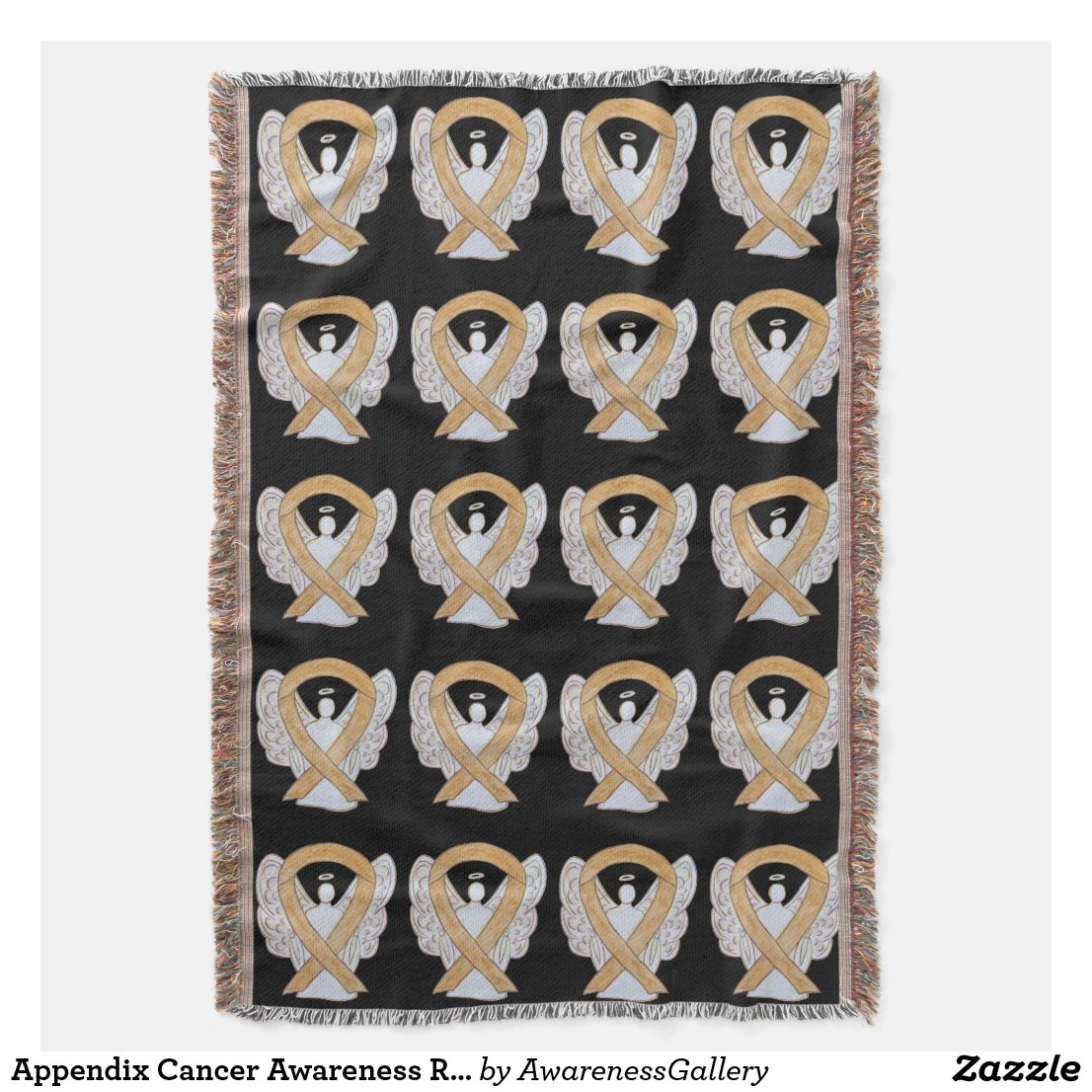 Appendix Cancer Awareness Ribbon Throw Blankets