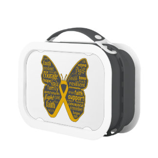 Appendix Cancer Butterfly Collage of Words Yubo Lunch Boxes