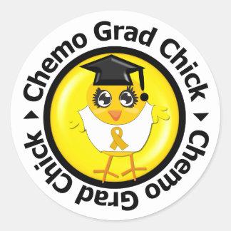 Appendix Cancer Chemo Grad Chick Round Sticker