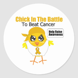 Appendix Cancer Chick In the Battle Round Stickers