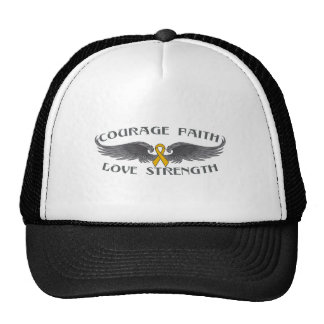 Appendix Cancer Courage Faith Wings Trucker Hat