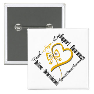 Appendix Cancer Faith Hope Love Butterfly Button