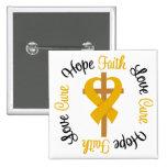 Appendix Cancer Faith Hope Love Cross Pinback Button